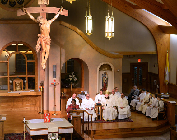 CARL RUSSO/staff photo. Wilda Squires gives the First Reading of the mass. Cardinal Sean P. O'Malley, OFM Cap. celebrated mass Tuesday night at St. Michael's Parish in honor of their 150th anniversary. 11/19/2019