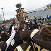 RYAN HUTTON/ Staff photo<br /> The Haverhill High football team celebrates after beating Lowell 28-7 in the annual Thanksgiving game at Trinity Stadium.