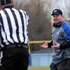 TIM JEAN/Staff photo <br /> <br /> Methuen head coach Tom Ryan, right, questions an officials call during the annual Thanksgiving day football game at Dracut High School. Methuen won 50-40.  11/28/19