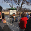 MIKE SPRINGER/Staff photo<br /> People listen as Mayor James Jajuga speaks during a dedication ceremony Tuesday for the Rail Trail in Methuen.<br /> 11/26/2019