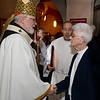 CARL RUSSO/staff photo. Cardinal Sean P. O'Malley, OFM Cap. says hello to Sister Barbara Monahan, Sister of charity of Halifax after St. Michael's Parish 150th anniversary mass Tuesday night.   <br /> <br /> She is a former principal of Saint Michael school and now volunteers at the school in religious education and in the parish.  11/19/2019