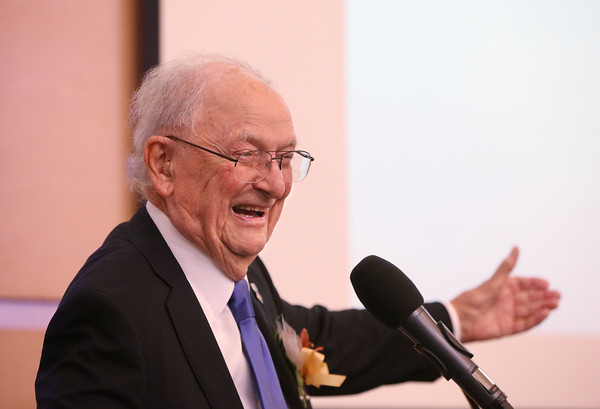MIKE SPRINGER/Staff photo<br /> World War II veteran John Katsaros, 96, speaks after receiving a Commitment to Community Award during the Haverhill YMCA's Educator of the Year recognition event Tuesday evening at Northern Essex Community College.<br /> 11/19/2019