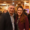 RYAN HUTTON/ Staff photo<br /> Chris Hunt, left, and Elin Anderson, right, of the Professional Center for Child Development at the GLOW Gala at Everett Mill in Lawrence on Thursday night marking the 20th anniversary of Groundwork Lawrence.