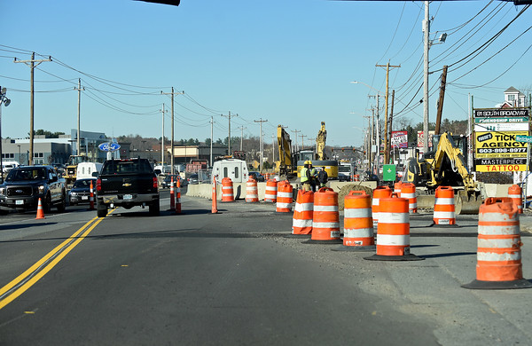 RYAN HUTTON/ Staff photo<br /> Construction on Route 28 in Salem near Westchester Street will continue through the winter.