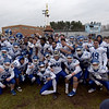 TIM JEAN/Staff photo <br /> <br /> Methuen celebrates defeating Dracut 50-40 during the annual Thanksgiving day football game at Dracut High School.   11/28/19