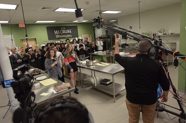 TIM JEAN/Staff photo <br /> <br /> Salem's CTE students get ready to start a introduction video at the start of the 2019 MRE Chopped Challenge, a cooking competition at Salem High School. The event was hosted by New Hampshire Department of Education and New Hampshire Army National Guard.   11/20/19