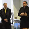 TIM JEAN/Staff photo <br /> <br /> NECC President Lane Glenn, left, Developer Sal Lupoli, talk in an office before a walk though of the construction site of the new Culinary Arts and Hospitality Center in the new Haverhill Heights building being built in downtown Haverhill.  11/13/19