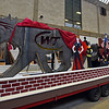 """RYAN HUTTON/ Staff photo<br /> Students are hard at work on Whittier Tech's parade float in preparation for Sunday's VFW Santa Parade in Haverhill. This year's theme is """"heroes""""."""