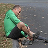 MIKE SPRINGER/Staff photo<br /> Mark Kaluzny of Andover changes from kayaking shoes to bicycling shoes during the 2nd Annual Andover Scramble on Sunday. <br /> 10/06/2019