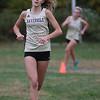 MIKE SPRINGER/Staff photo<br /> Gabrielle DeRoche of Haverhill approaches the finish line ahead of teammate Brynne LeCours in a cross country meet with Methuen and Tewksbury on Wednesday at Methuen. <br /> 10/16/2019