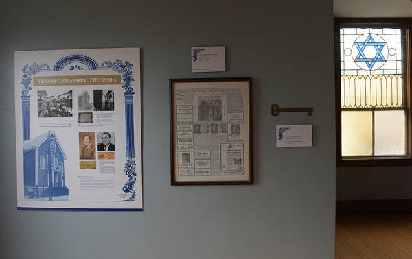 TIM JEAN/Staff photo<br /> <br /> Several panels in the balcony that shows the history of the Congregation Ansha Sholum on Hampshire Street in Lawrence. The congregation is celebrating its 100 year anniversary this weekend.   10/22/19