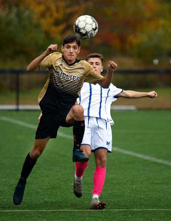 CARL RUSSO/Staff photo Haverhill's Louis Dimopoulos makes a quick move in front of Methuen player. Haverhill defeated Methuen 4-0 in boys soccer action Tuesday afternoon. 10/22/2019