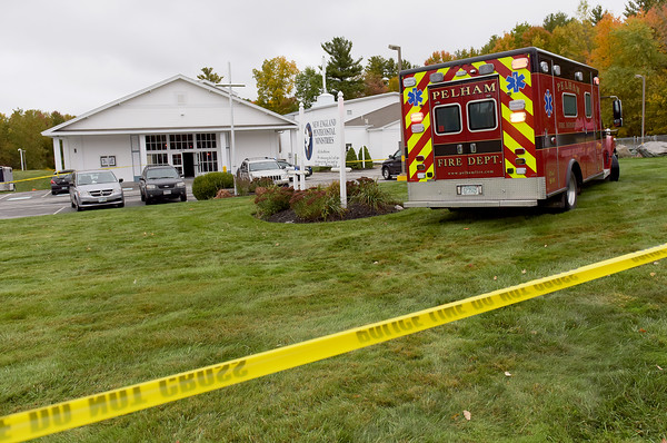 TIM JEAN/Staff photo<br /> <br /> An ambulance leaves the scene of active shooter situation inside the New England Pentecostal Ministries, a church on Bridge Street in Pelham, NH. 10/12/19