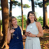 """CARL RUSSO/Staff photo. Heather Gaspar, left of Andover and her dinner guest, Kathy Evarts of Wakefield enjoy a glass of wine and the scenic view of Smolak Farms. <br /> <br /> Smolak Farms holds a weekly """"pop up"""" dining experience every Wednesday evening through the summer. The farm invites New England chefs to cook a multi-course dinner in the Smolak Farms Pine Grove using produce grown at the farm, creating their menus on a """"WHIM."""" Executive chef Nick Deutmeyer of Post 390 in Boston's Back Bay was featured on July 10.     7/10/2019"""