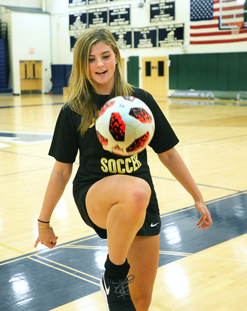 CARL RUSSO/staff photo. Windham sophomore Reagan Murray played for the top level of her club team, Seacoast United, last year, but decided to play for Windham High this year. She's having a great fall for the Jaguars and has been a huge addition to the team. 10/02/2019