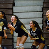 CARL RUSSO/Staff photo Haverhill Hillies, from left, Jessica Wardle, Vayolet Ovalles, Victoria Giampa, Sophia Osmer and Jalyn Pearl celebrate the victory. Haverhill defeated Lawrence in volleyball action wednesday evening. 10/9/2019