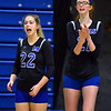 CARL RUSSO/Staff photo Methuen's Megan Levesque, right cheers from the sideline with teammate Lizzie Staugler. Andover defeated Methuen in the 5th. game of volleyball action at Andover high. 10/7/2019