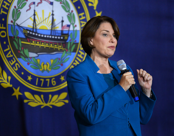 CARL RUSSO/Staff photo Democratic presidential candidate Amy Klobuchar visits Londonderry senior center for town hall campaigning. 10/16/2019