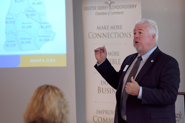 TIM JEAN/Staff photo<br /> <br /> George Reagan, Community Engagement Manager, with the NH Housing & Finance Authority speaks during the Greater Derry Londonderry Chamber of Commerce Vision for Southern New Hampshire 2020 Breakfast at Brookstone Event Center in Derry.    10/17/19