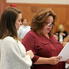 MIKE LABELLA/ Staff photo<br /> Jordan Rankin's mother Cindy, right, reads a victim impact statement as her other daughter Julia supports her in Haverhill District Court on Tuesday during a change of plea hearing for Owen Foote.