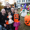 CARL RUSSO/Staff photo. Dave and Sabrina Alberg of Danville with their children, Richie, 10, Ameila, 5, holding meatball the bunny and Gabriella, 7  in front of their house. Richie Alberg, a 10 year old boy with autism is passionate about inflatable decorations. For his birthday he asks for them, for Christmas he asks for them. Last year he made the community page for the town and he thought it was the best thing ever. This year as his mom struggled with Cancer, his only wish was to make the newspaper or the news. He said it was ok if he didn't get anymore this year as he got to keep his mother. 10/24/2019