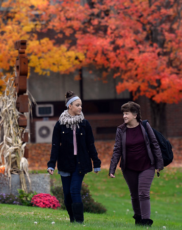 """CARL RUSSO/Staff photo Grand students: Sharon Montalvo and her granddaughter, Destiny Emanuel, are students at Northern Essex Community College. Both are enrolled in business courses. Montalvo, who was working as a manager at a call center <br /> before she was laid off in December 2017, said she is """"leaning"""" toward pursuing a bachelor's degree. Emanuel's goal is to start her own hair salon. Montalvo and Emanuel live in Haverhill.10/22/2019"""