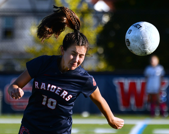 CARL RUSSO/Staff photo Central's Juliana Porto heads the ball. Central Catholic defeated Andover 3-0 in girls soccer action Monday afternoon. 10/1/42019