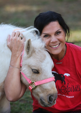 MIKE SPRINGER/Staff photo<br /> Toni Hadad with Peaches, one of the star attractions at Lifting Spirits Miniature Therapy Horses, at her farm in Andover.<br /> 10/14/2019
