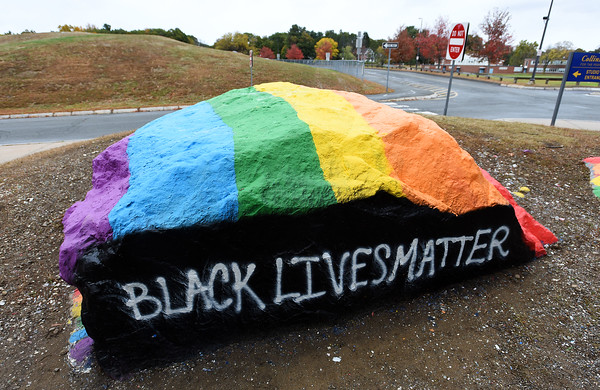 "RYAN HUTTON/ Staff photo<br /> ""The Rock"" outside of Andover High School as it appeared on Thursday after students painted a ""Black Lives Matter"" message without getting the school's permission."