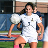 CARL RUSSO/Staff photo Andover's Emma Azzi fights to control the ball. Central Catholic defeated Andover 3-0 in girls soccer action Monday afternoon. 10/14/2019