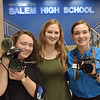 TIM JEAN/Staff photo<br /> <br /> Grace Lumley, left, Valerie Sacco and Brooklynn Leonard, all seniors in the Salem High Schools CTE Television Production Program got a taste of the real world as the followed Sen. Maggie Hassan while she toured the school, and interviewed her afterwards.     10/4/19