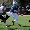 TIM JEAN/Staff photo<br /> <br /> Salem running back Riley Mulvey runs for a big gain during a football game against Bedford.  Salem defeated Bedford 34-3 at Trinity Stadium in Haverhill.   10/19/19