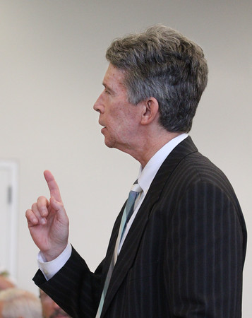 MIKE SPRINGER/Staff photo<br /> John Roddy, attorney for the plaintiffs, talks about the proposed $143 million settlement with Columbia Gas during a hearing Monday in Salem Superior Court.<br /> 10/07/2019