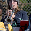 TIM JEAN/Staff photo<br /> <br /> Michela Rowland, 13, performs along side of Andover High School Marching Band members during a football game at the high school.   10/5/19