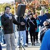 TIM JEAN/Staff photo<br /> <br /> Congressman Seth Moulton speaks about his experience with post-traumatic stress disorder to the crowd at the start of the Samaritans of Merrimack Valley 3rd annual Walk for Hope. The event was held in Willows Professional Park in North Andover. 10/19/19