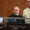 RYAN HUTTON/ Staff photo <br /> Jose Veguilla, 83, center, appears in Haverhill District Court on Monday morning after he allegedly murdered a fellow 76-year-old resident at the Oxford Rehabilitation and Health Care Center on Main Street in Haverhill on Sunday night.