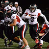 CARL RUSSO/Staff photo North Andover's running back Ricky Brutus finds the opening. North Andover defeated Chelmsford 22-20 in Friday night football action. 10/11/2019