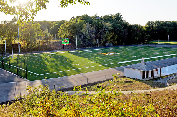 TIM JEAN/Staff photo<br /> <br /> Whittier Tech has made improvements to its stadium complex. Upgrades included a new scoreboard, artificial turf, and an eight-lane track and lighting.    10/15/19