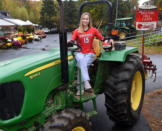 CARL RUSSO/Staff photo Laura Farnum is a senior standout volleyball player at North Andover high and her family owns Boston Hill Farm in North Andover which has farmed there since the 1600s. 10/17/2019