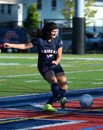 CARL RUSSO/Staff photo Central's Adrianna Niles gets the rebound on her penalty kick to score the first goal of the game. Andover's goalkeeper, Izzy Shih made the save on Niles penalty kick but Niles' rebound kick scored. Central Catholic defeated Andover 3-0 in girls soccer action Monday afternoon.  10/14/2019