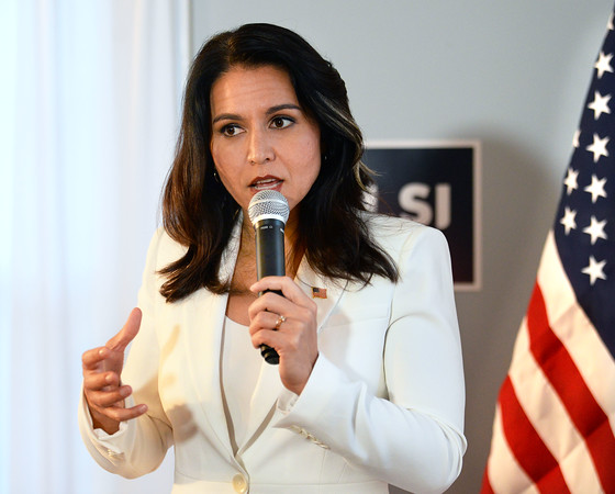 CARL RUSSO/staff photo. Presidential candidate Tulsi Gabbard makes a stop in Londonderry to speak at Democratic headquarters. 10/01/2019