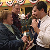 TIM JEAN/Staff photo<br /> <br /> Claire Karibian, of Salem, speaks with Democratic presidential hopeful Pete Buttigieg after a town hall style meeting at Derry Opera House.  10/31/19