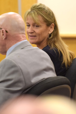 TIM JEAN/Staff photo<br /> <br /> Dawn Marie Barcellona, 58, sits with her defense attorney Steve Jeffco during a bench trial in Rockingham County Superior Court in Brentwood, NH. Barcellona is on trial for driving under the Influence on Oct. 21, 2018.   10/9/19