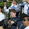 TIM JEAN/Staff photo<br /> <br /> William Conner, 13, center, performs with members of Andover High School Marching Band during a football game at the high school.    10/5/19