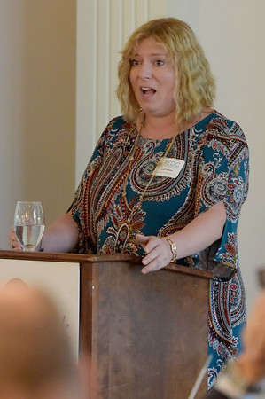 TIM JEAN/Staff photo<br /> <br /> Laurel Adams, President, Regional Economic Development Center makes a point as she speaks during the Greater Derry Londonderry Chamber of Commerce Vision for Southern New Hampshire 2020 Breakfast at Brookstone Event Center in Derry.    10/17/19