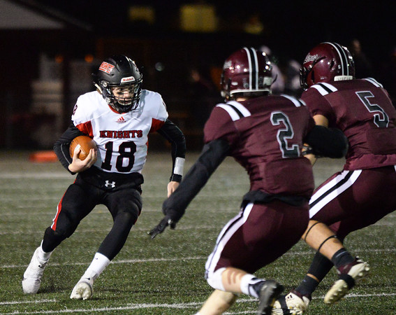 CARL RUSSO/Staff photo North Andover's quarterback, Peter Radulski. North Andover defeated Chelmsford 22-20 in Friday night football action.  10/11/2019