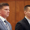 MIKE LABELLA/ Staff photo<br /> Owen Foote, 20, right, and his attorney Benjamin Urbelis, left, in Haverhill District Court on Tuesday during a change of plea hearing.