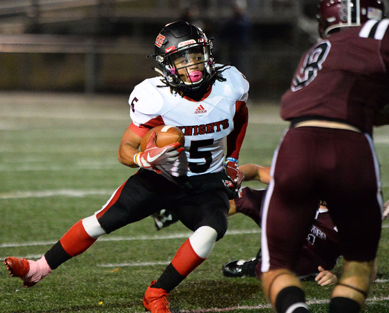 CARL RUSSO/Staff photo North Andover's running back, captain Freddy Gabin finds the opening. North Andover defeated Chelmsford 22-20 in Friday night football action. 10/11/2019