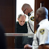 RYAN HUTTON/ Staff photo <br /> Jose Veguilla, 83, is led into Haverhill District Court on Monday morning after he allegedly murdered a fellow 76-year-old resident at the Oxford Rehabilitation and Health Care Center on Main Street in Haverhill on Sunday night.