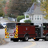 TIM JEAN/Staff photo<br /> <br /> Methuen police and fire department block off a section of Woodland St., where a transformer was on fire and wires fell across the roadway. High winds and rain overnight caused major damage throughout the Merrimack Valley.     10/17/19